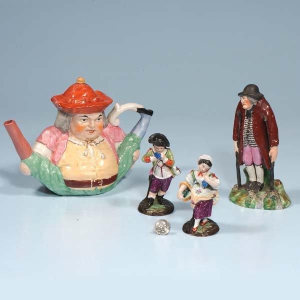 4: Staffordshire figure of man shaped as a tea pot, c.1