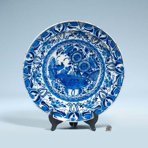 8: Blue and white Delft charger with bird and floral de