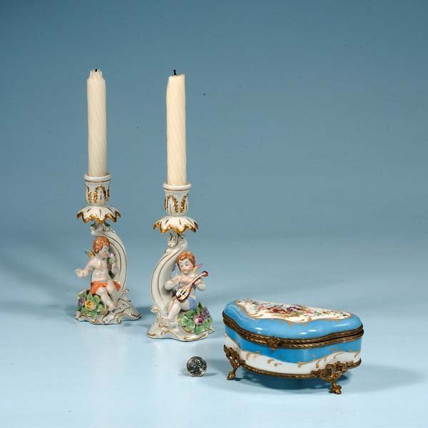 17: Bronze mounted French porcelain box and a pair of c