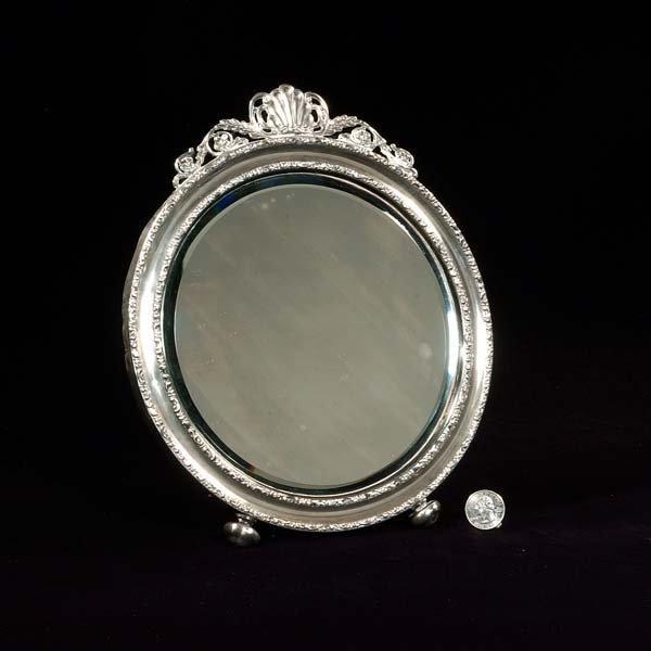 19: English sterling silver mirror, Birmingham, c.1880,