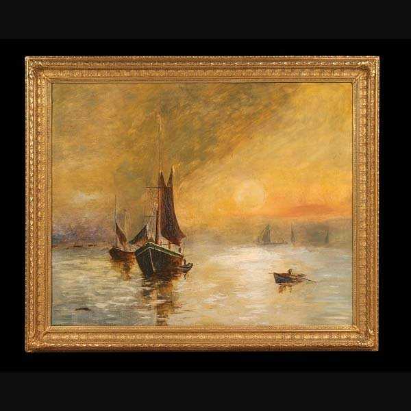 65: 19th century English nautical scene painting with s