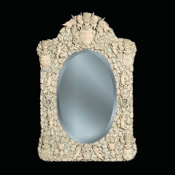 228: Rare 19th century carved bone mirror carved in Nor