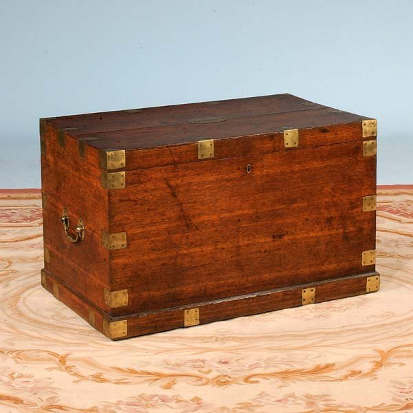 311: 19th century brass bound mahogany seaman's trunk w