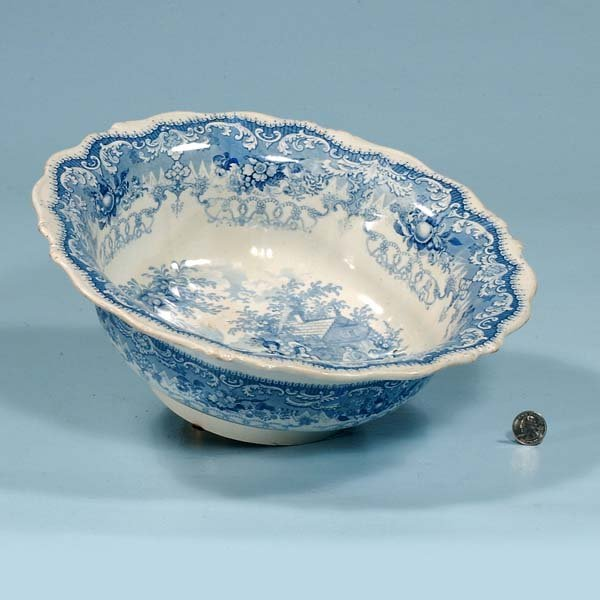 428: Blue and white Staffordshire bowl with a cottage s
