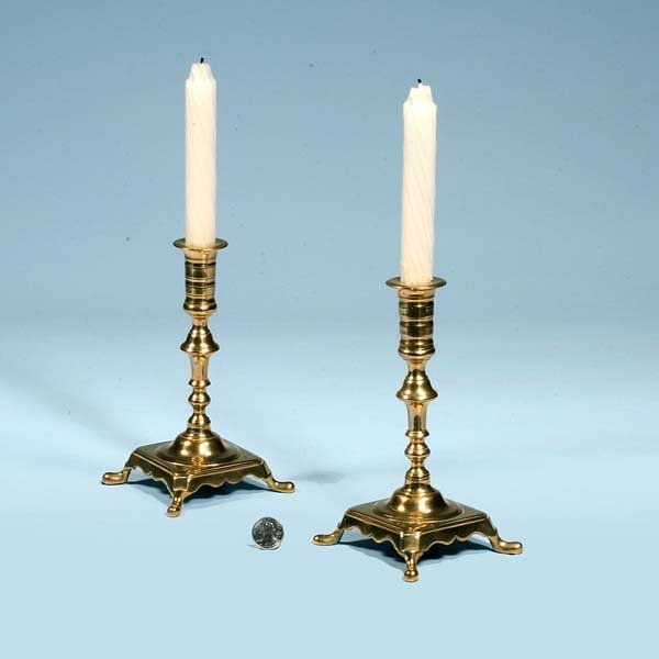 433: Pair of Queen Anne brass candlesticks with square