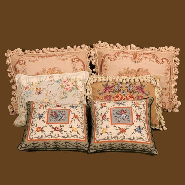 441A: Group of six needlepoint pillows