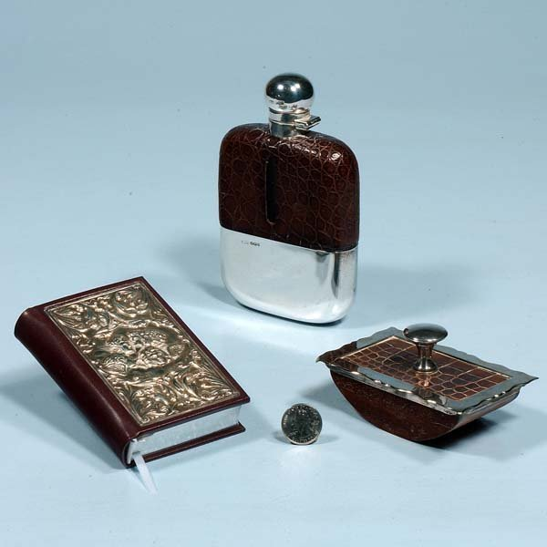444: Silver and leather flask, silver and leather blott