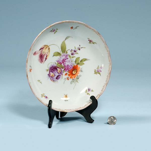 "447: 9-1/2"" Meissen porcelain bowl with floral decorati"