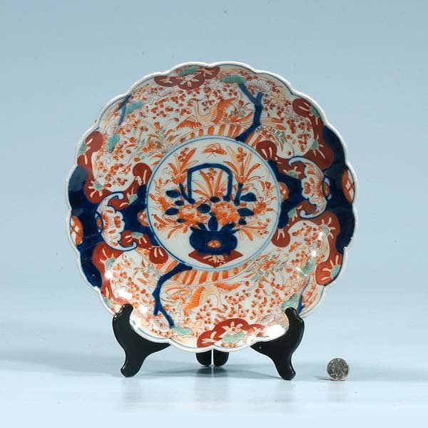 448: Imari porcelain charger with cobalt blue, green an