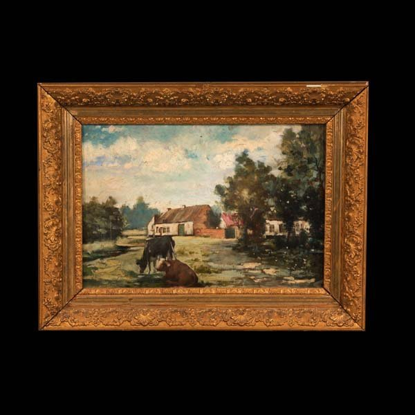 685: 19th century French farm scene painting, signed in