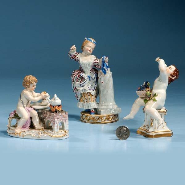 "5: Meissen porcelain figure of a putti with tea pot, 4"""
