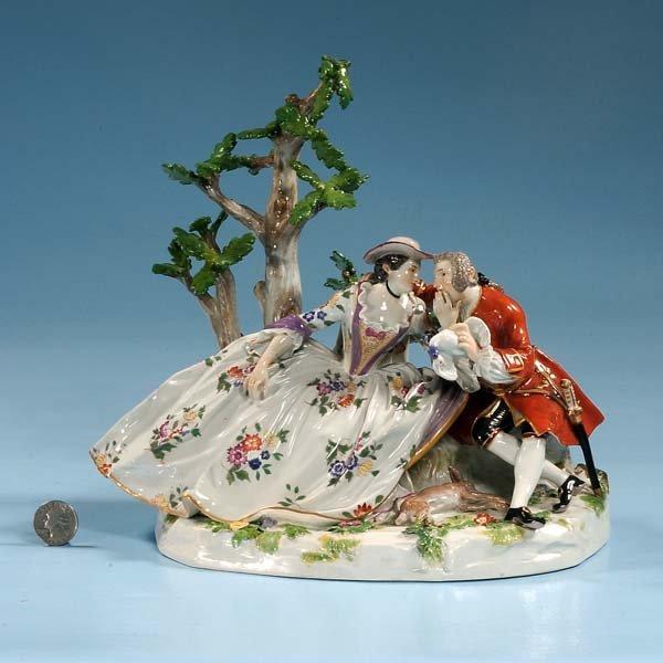 8: Meissen porcelain figure of lady and gentleman seate