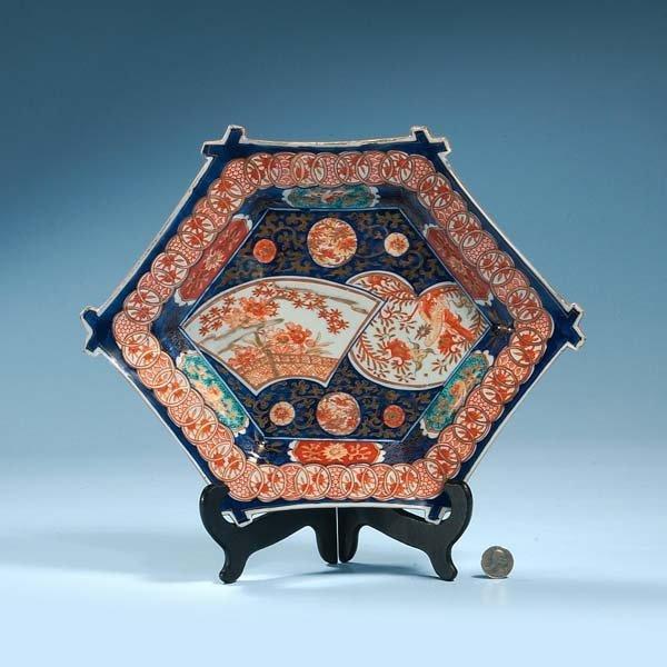 14: Unusual Imari porcelain charger with cobalt blue, g
