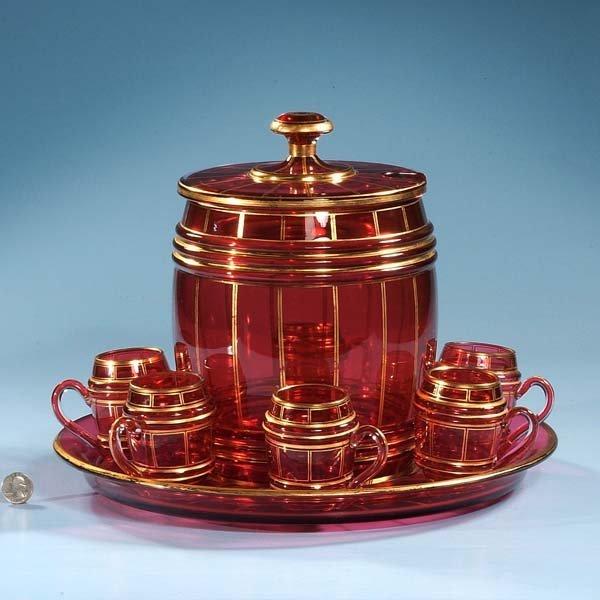 "404: Cranberry Moser glass ice bucket, 8"" diameter, 9"""