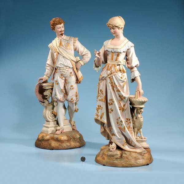 """426: Pair of bisque figures of man and woman, 27-1/2"""" h"""