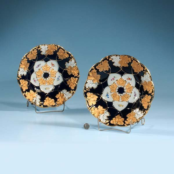 """429: Pair of cobalt blue and gold Meissen plates, 11"""" i"""