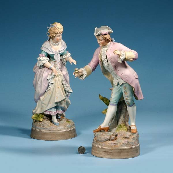 """434: Pair of bisque figures of man and woman, 15"""" high"""