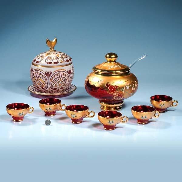 "438: Venetian glass punch bowl, 9"" diameter, 19"" high,"