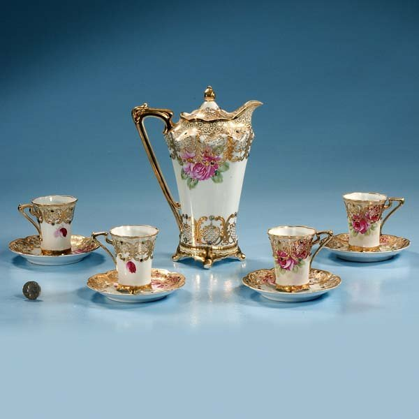 440: Nippon china chocolate pot with four cups and sauc