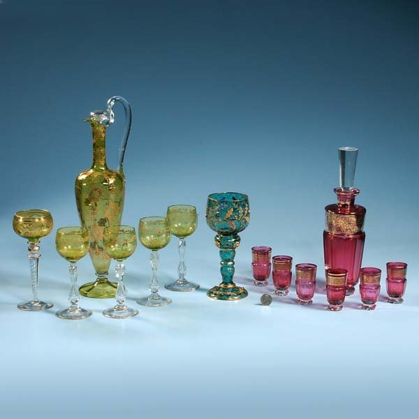 """441: Green glass decanter, 15"""" high and five companion"""