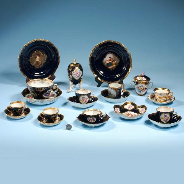 443: Group of six Meissen cobalt blue and gold cups and
