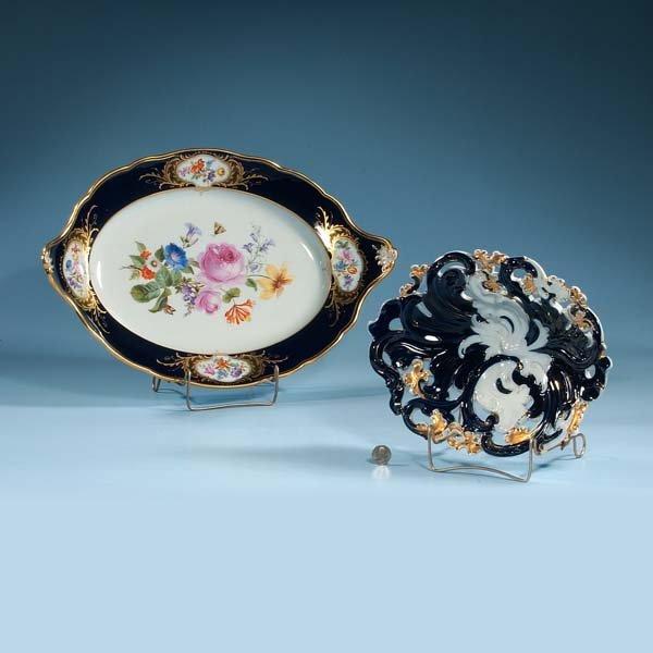 "444: Oval cobalt blue Meissen porcelain bowl, 12-1/2"" l"