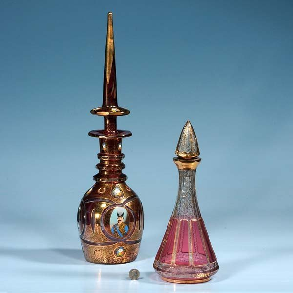 """445: Venetian overlay glass decanter, 22"""" high and a cr"""