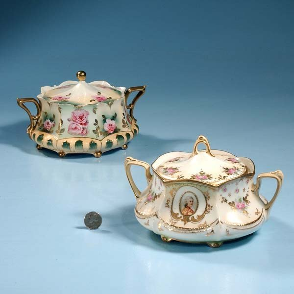 """446: Two R.S. Prussia covered dishes, each 7"""" diameter"""