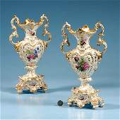 525 Pair of Old Paris porcelain vases with gold gilt f