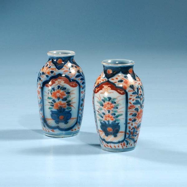 1001: Pair of Imari porcelain cabinet vases with floral