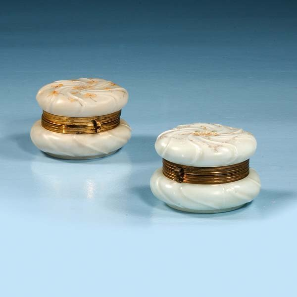 "1004: Wavecrest glass box, 4"" diameter, 3"" high and a W"