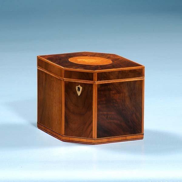 1007: Sheraton mahogany diamond shaped tea caddy with s