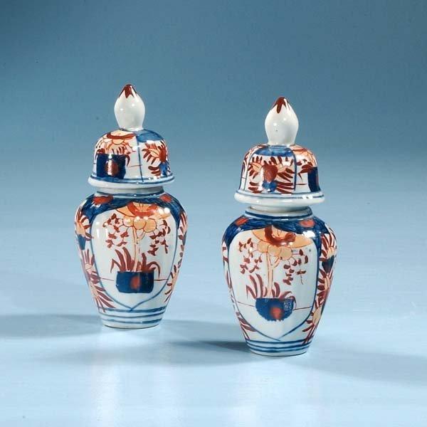 1010: Pair of Imari porcelain ginger jars, c.1880, 6-1/