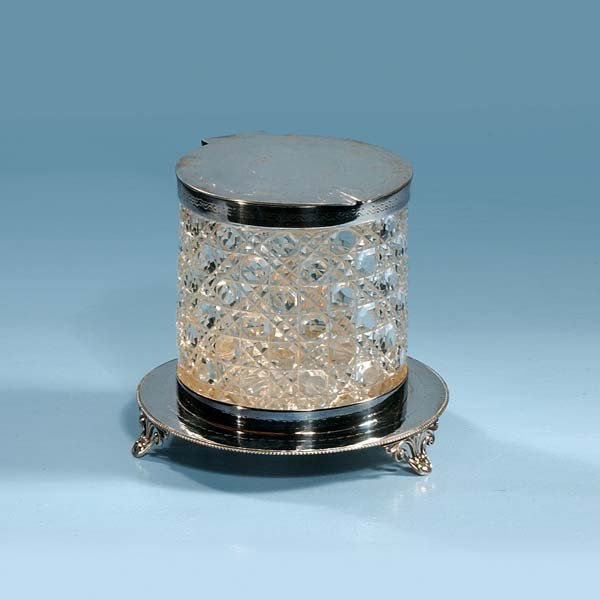1012: English cut crystal biscuit jar with silver plate