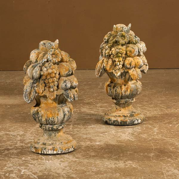 """1015: Pair of cast stone fruit piers, 23-1/2"""" high"""