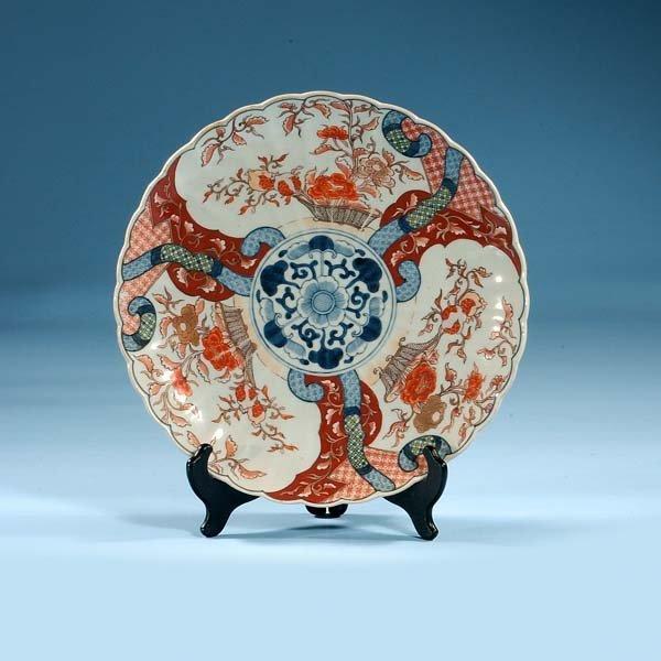 1022: Imari porcelain charger with cobalt blue, green a