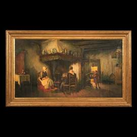 1274: Superb oil painting on canvas, Dutch interior sce