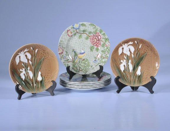 """1: Set of six Copeland Spode 9"""" plates with bird and fl"""