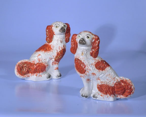 2: Pair of 19th century Staffordshire dogs with orange