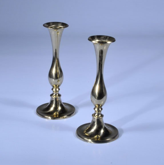 3: Pair of English brass candlesticks with flared tops,