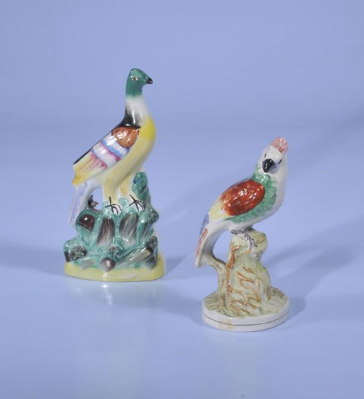 4: Two Staffordshire birds with multicolor decoration,