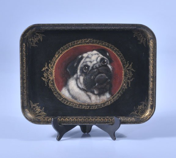 """6: Papier-mache tray with pug decoration, 12-1/2"""" long"""