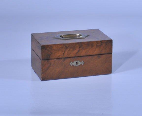 7: English walnut jewelry box with brass handle, c.1860