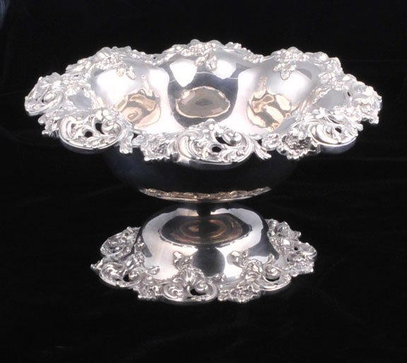 8: Sterling silver compote by G. Wansen with hand cha