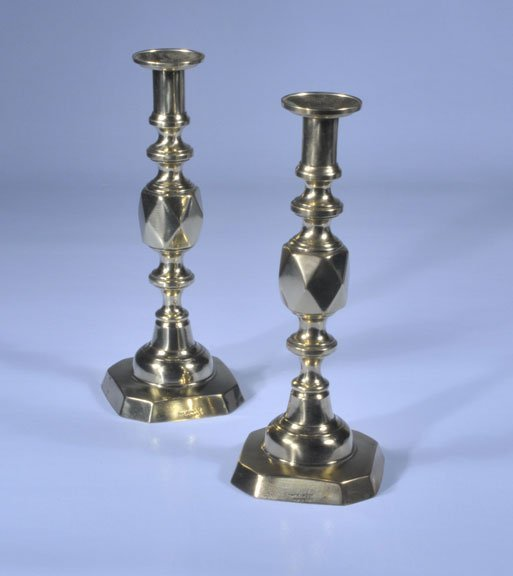 """10: Pair of English """"King of Diamonds"""" brass candlestic"""
