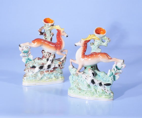 13: Pair of Staffordshire deer with hunting dogs at the