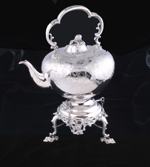 16: English silver plated kettle on stand with engraved