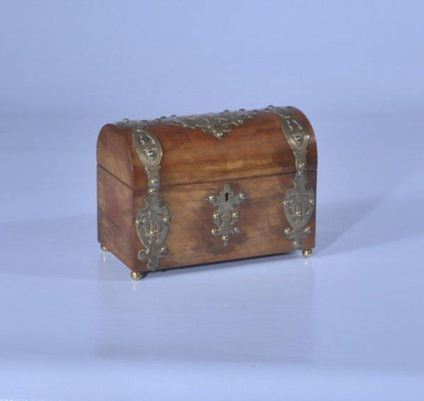 20: Dome top brass bound English walnut tea caddy with