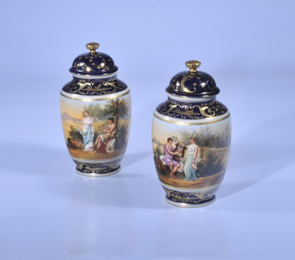 144: Pair of Royal Vienna Austrian porcelain capped urn