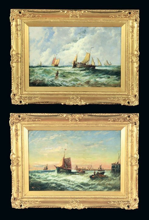 227: Exceptional pair of English seascape paintings in